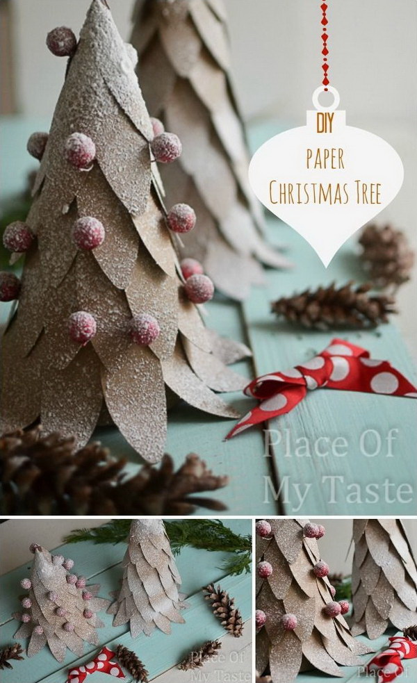 DIY Paper Christmas Tree. A beautiful and inexpensive way to create a festive holiday atmosphere by making this little mini paper Christmas tree.