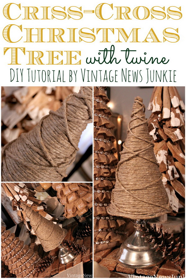 Easy DIY Twine Christmas Tree. Create this small Christmas tree with twines and add a touch of rustic warm to your holiday decor.