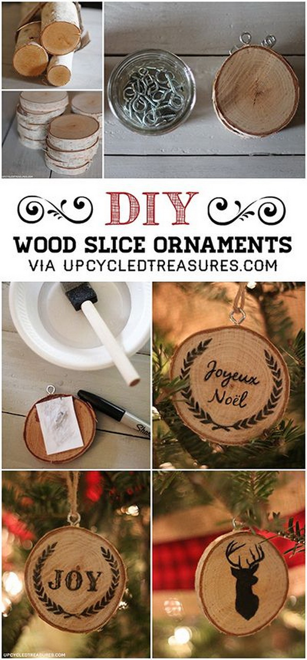 DIY Wood Slice Christmas Ornaments. Make your own wood slice ornaments with wood slice coasters from a craft store.