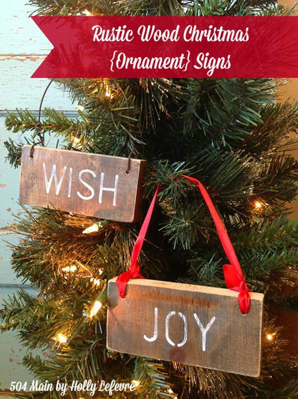 rustic wood christmas ornament signs - Rustic Christmas Ornaments