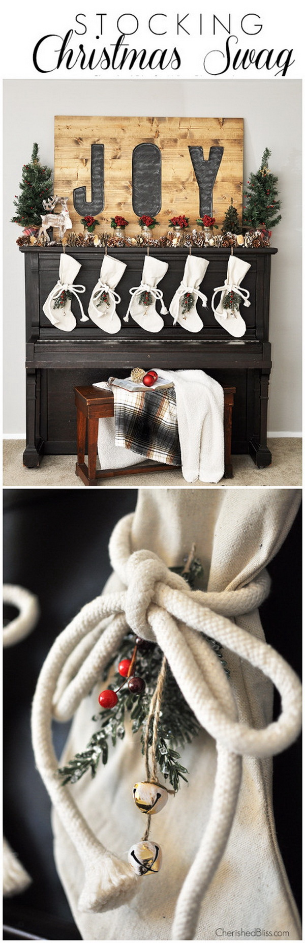 Stocking Christmas Swag. Add each of the stockings with these drop cloth stockings this year and it was the perfect addition to your mantel decoration this Christmas season.