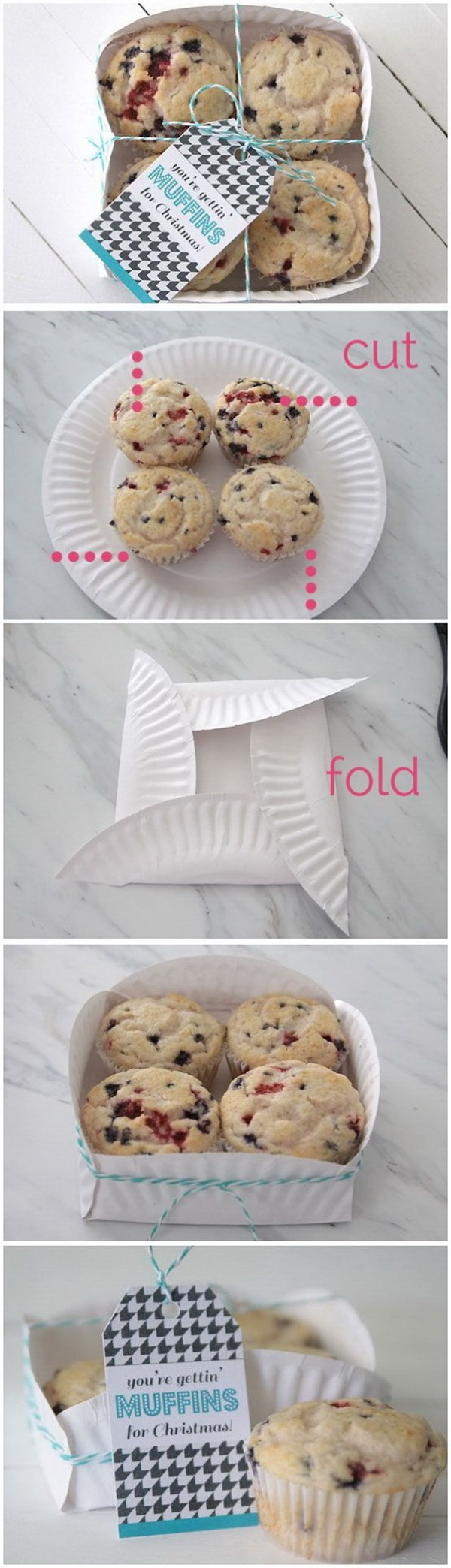 Easy Paper Plate Basket for Muffins.