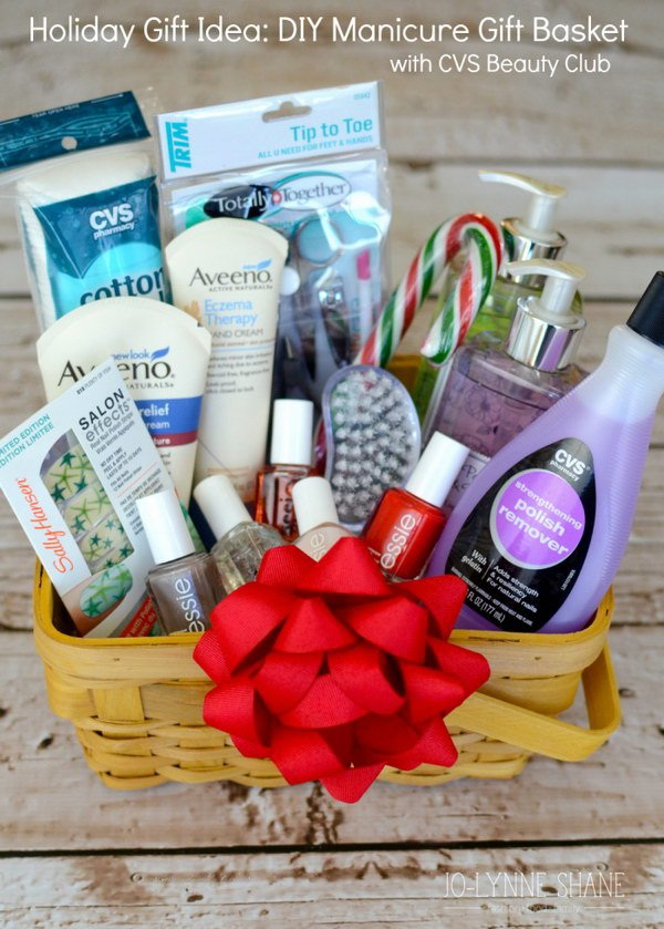 45 creative diy gift basket ideas for christmas for creative juice diy manicure gift basket solutioingenieria Images