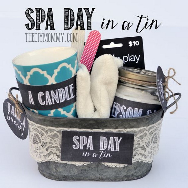 45 creative diy gift basket ideas for christmas for creative juice spa day gifts in a tin negle Gallery