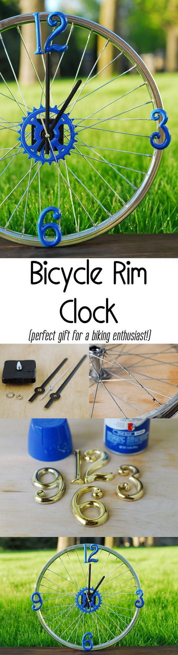 DIY Bicycle Rim Clock. The perfect gift for dad who is a biking enthusiast!