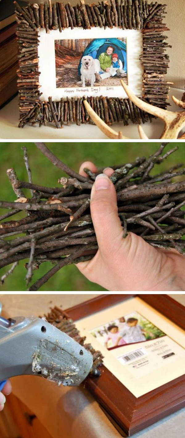 DIY Rustic Twigs Photo Frame for Dad. Collected twigs, an inexpensive frame and a favorite camping photo are all you need to make this amazing handmade outdoorsy frame.
