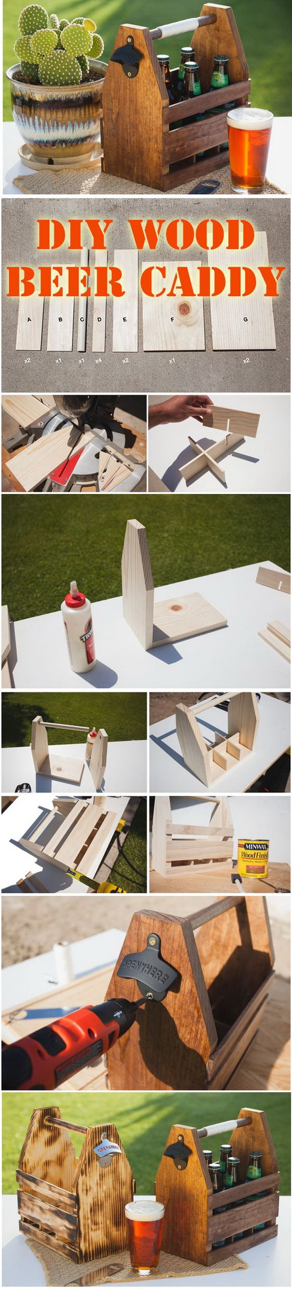 DIY Wood Beer Caddy. Make a beer caddy for summer bbqs for your own or a personalized gift for your dad!