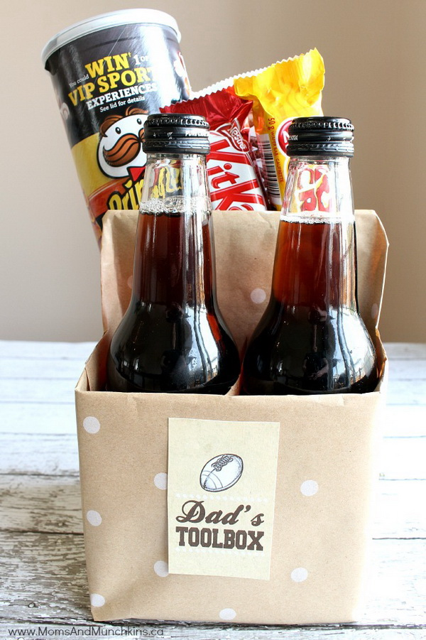 Dad's Toolbox. Create a personalized toolbox with some bottles of pop and your dad's favorite snack foods according to his interests. This makes a quick and fun Father's Day gift idea!