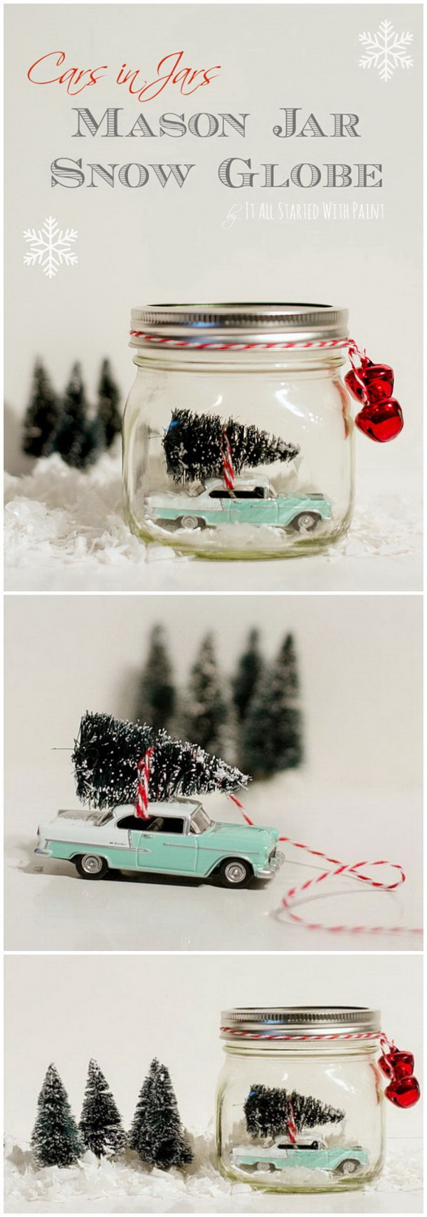 Car in Jar Snow Globe. Easy mason jar Christmas craft idea for kids with vintage cars and bottle brush trees and mason jars.