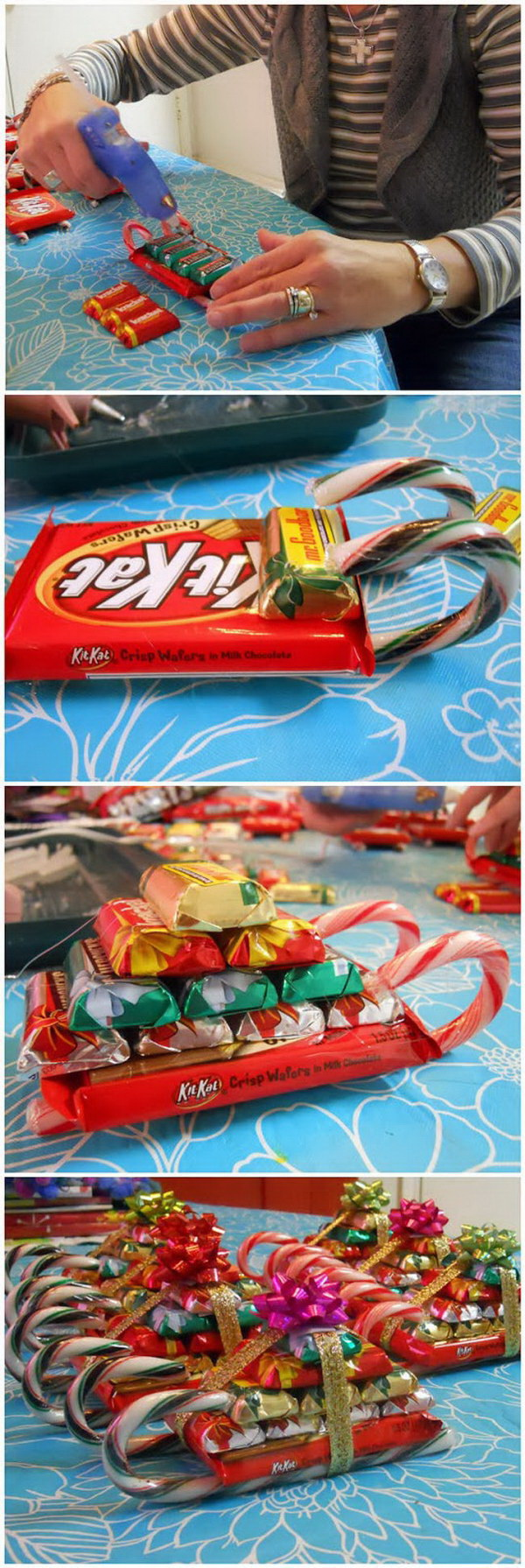 homemade candy sleighs this christmas candy cane sleigh is so festive easy to make
