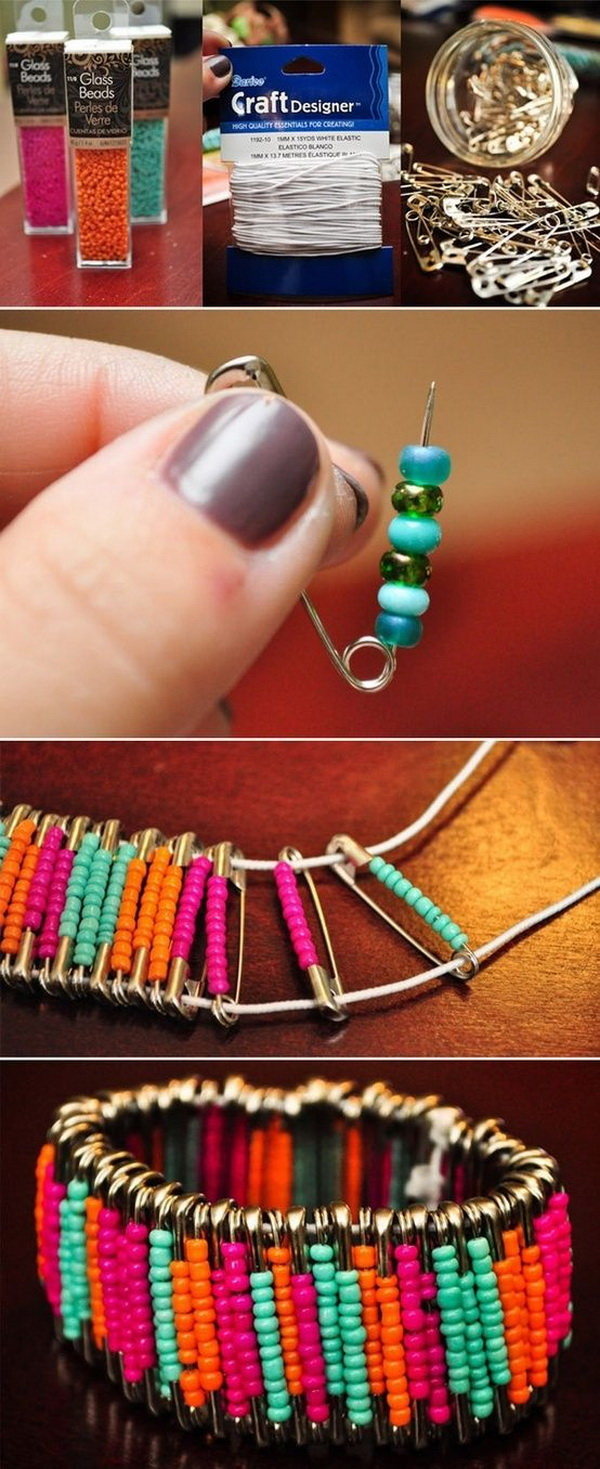 Beaded Safety Pin Bracelets. Transform a bunch of safety pins into a quirky, fun bracelet. It is cool, easy to make for an easy and custom giving gifts, especially for teengirls in your life!