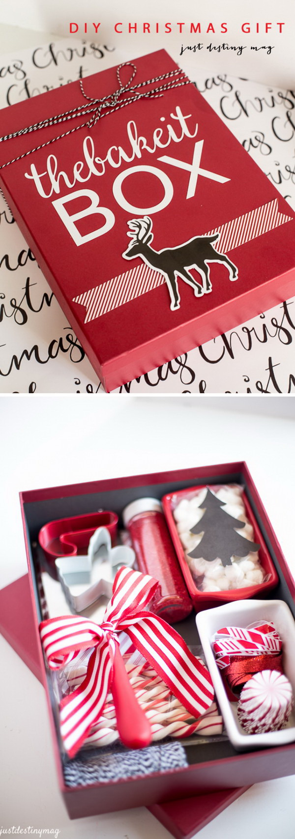 "DIY Christmas ""Bake It Box"". This little ""bake it box"" is super simple to put together. You can make it custom by color or by supplies!"