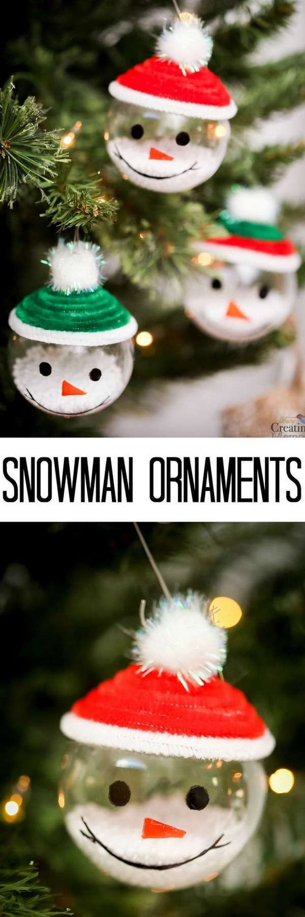 Adorable Snowman Ornaments. Bring winter indoors by decorating with these easy Snowman Ornaments. A great Christmas craft to make with the kids.