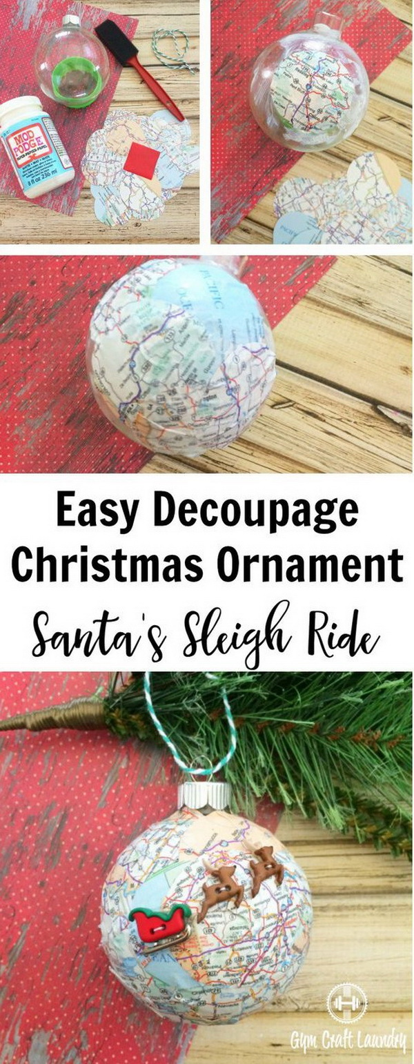 Easy Decoupage Santa's Sleigh Map Ornament. This decoupage Santa Sleigh Map Ornament is fun and perfect to make with the kids  in minutes.