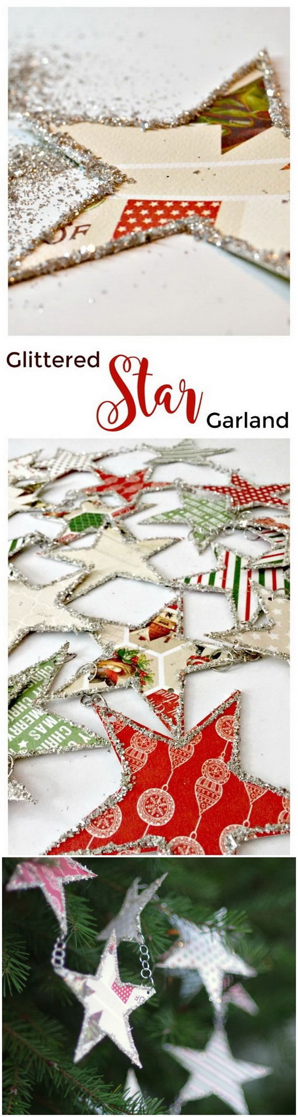 Glittery Star Christmas Garland. Add some sparkle to your holiday decor with this easy paper star garland   this Christmas season!