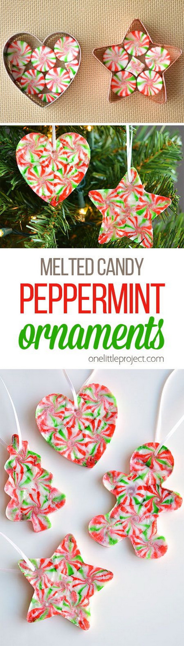 Melted Peppermint Candy Ornaments. These peppermint candy ornaments are fun and inexpensive to make. They are the great project both as Christmas gifts or as ornaments for your tree.
