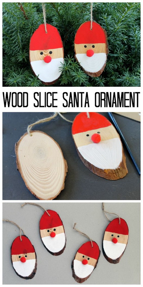 Wood Slice Santa Ornament. These wood slice Santa ornaments are a quick and easy holiday craft for your Christmas tree - The Perfect for crafting with kids!