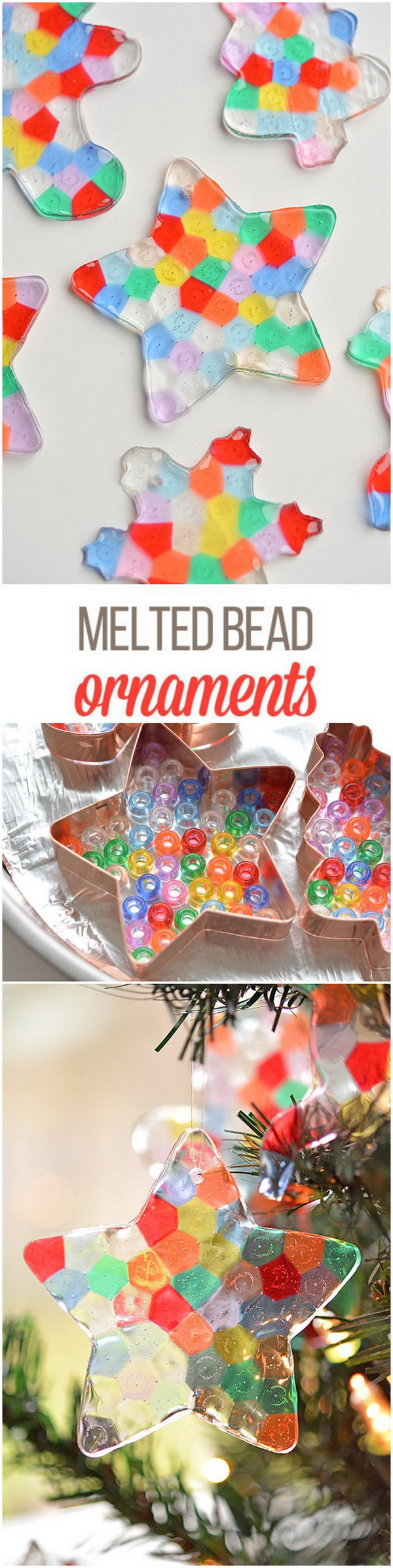 Melted Bead Ornaments. Create these colorful and beautiful melted bead ornaments to hang on the Christmas tree!