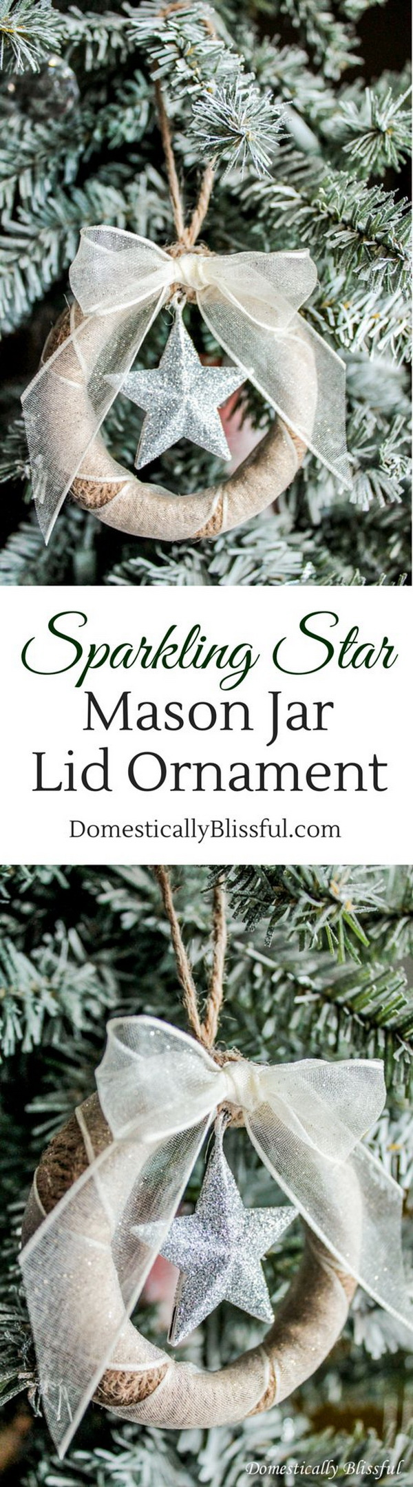 Sparkling Star Mason Jar Lid Ornament. An inexpensive yet beautiful way to add rustic warm and charm to your Christmas tree with these sparkling star mason jar lid ornaments!