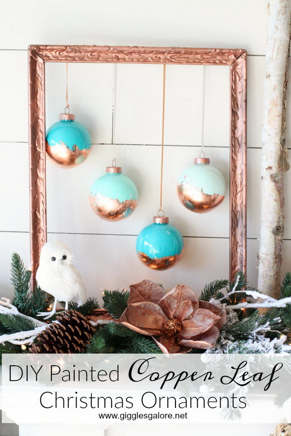 DIY Painted Copper Leaf Christmas Ornaments. Complete the glam metallic farmhouse Christmas tree and holiday decor with these painted copper leaf ornaments!