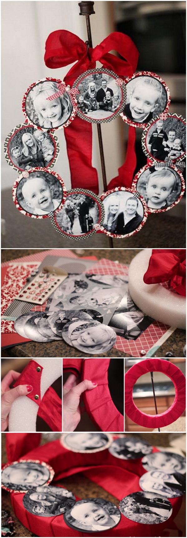 Christmas Family Photo Wreath.