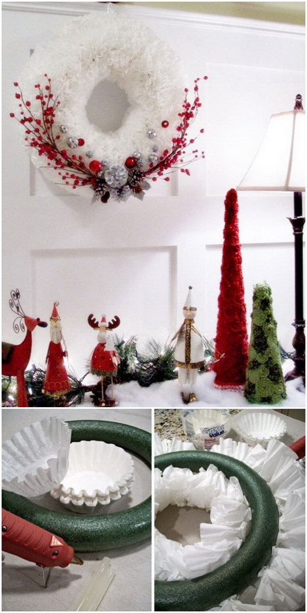 Coffee Filter Christmas Wreath.