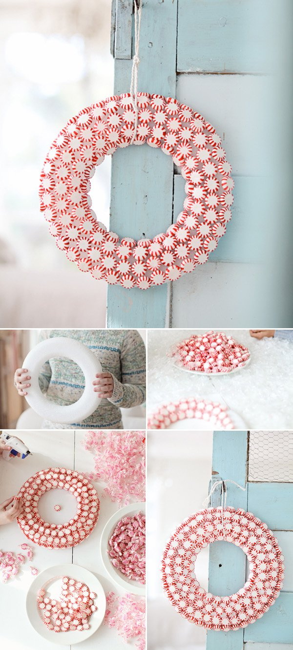Handmade Peppermint Christmas Wreath.