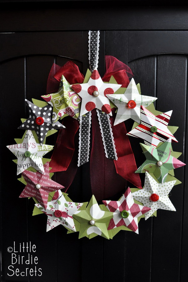3D Paper Star Wreath.