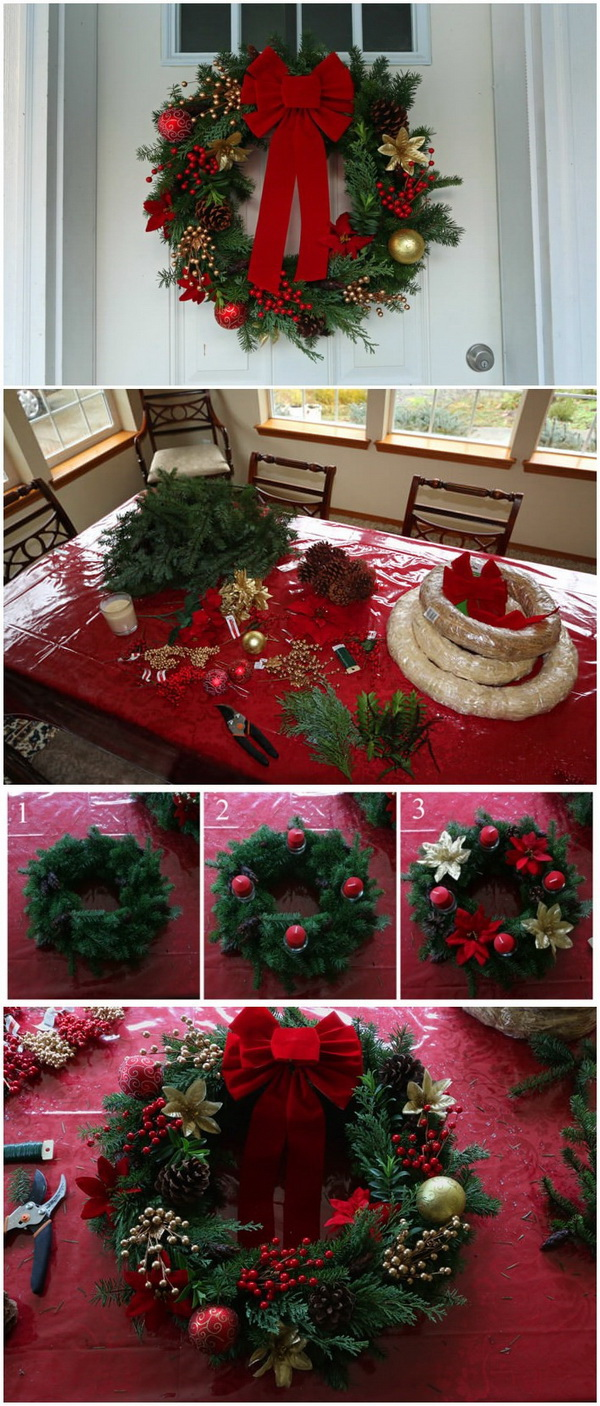 homemade greenary christmas wreath