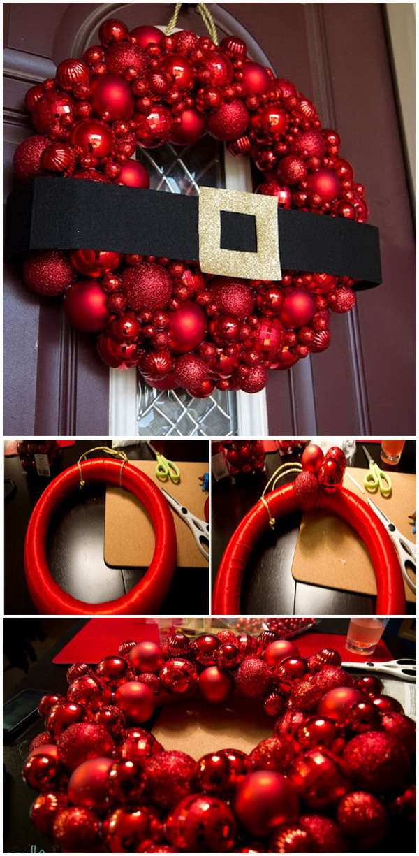 DIY Santa Christmas Ornament Wreath.