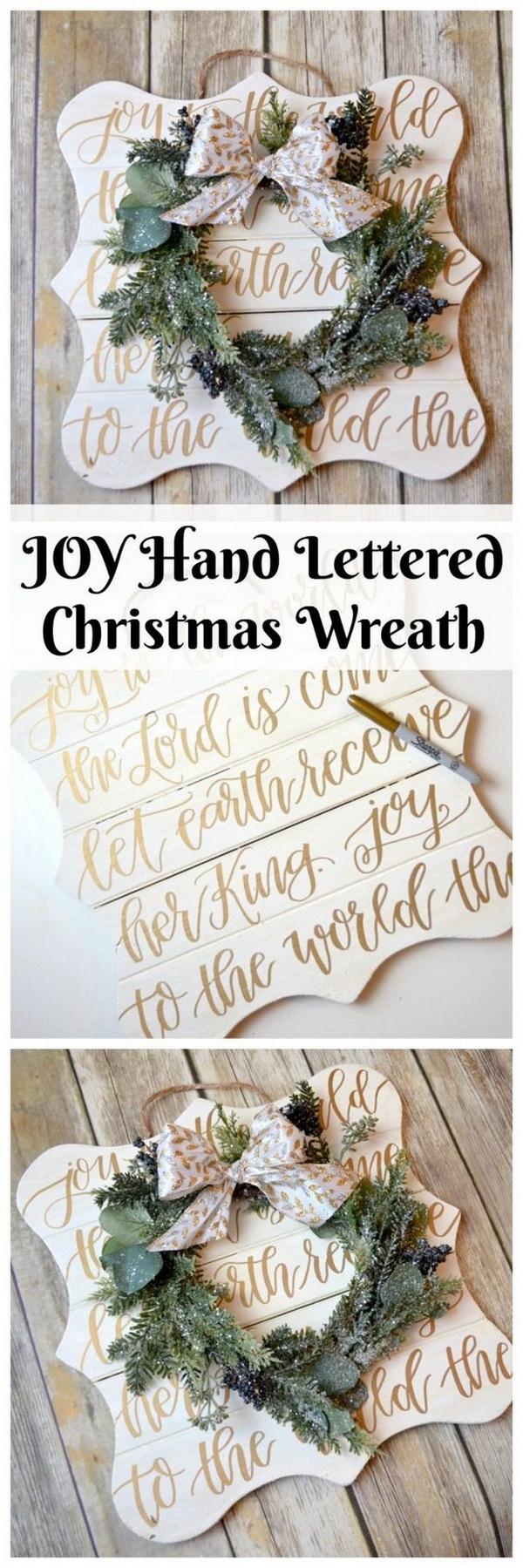 JOY Hand Lettered Christmas Wreath.