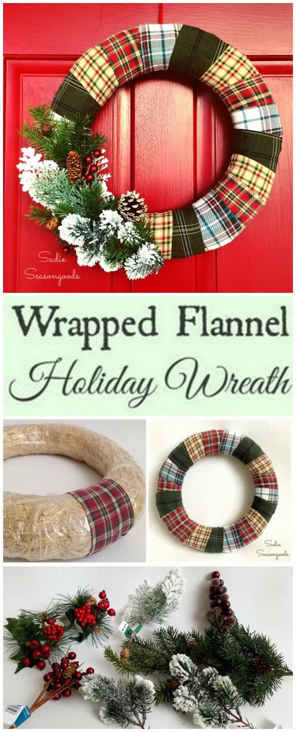 Wrapped Flannel Holiday Wreath.