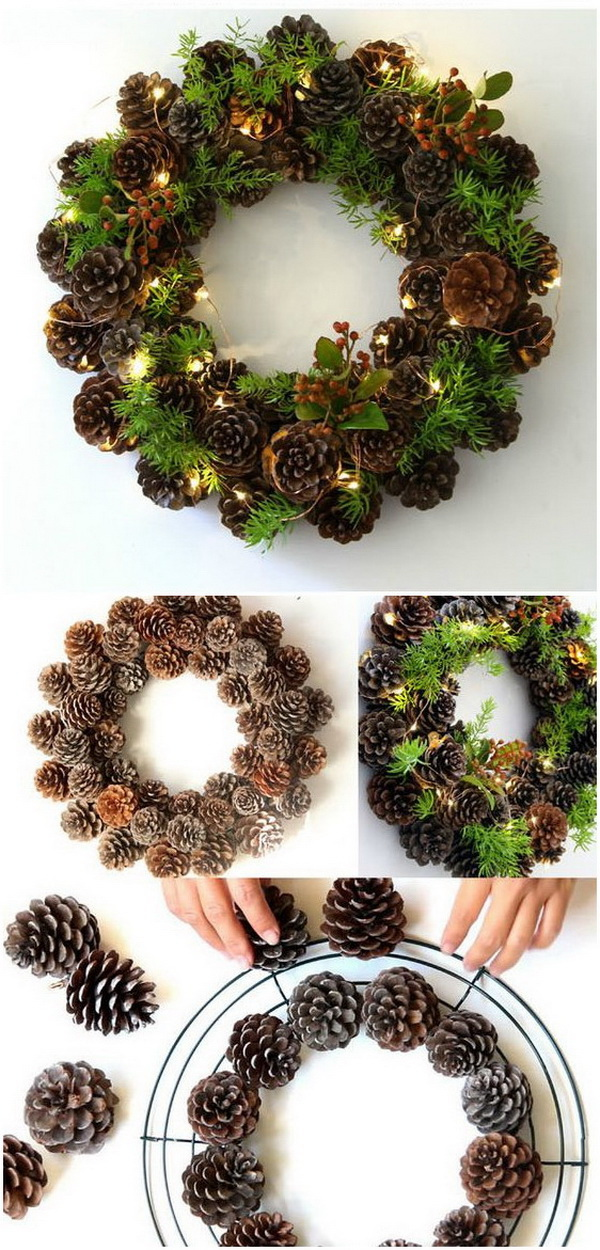 DIY Winter Pine Cone Wreath.