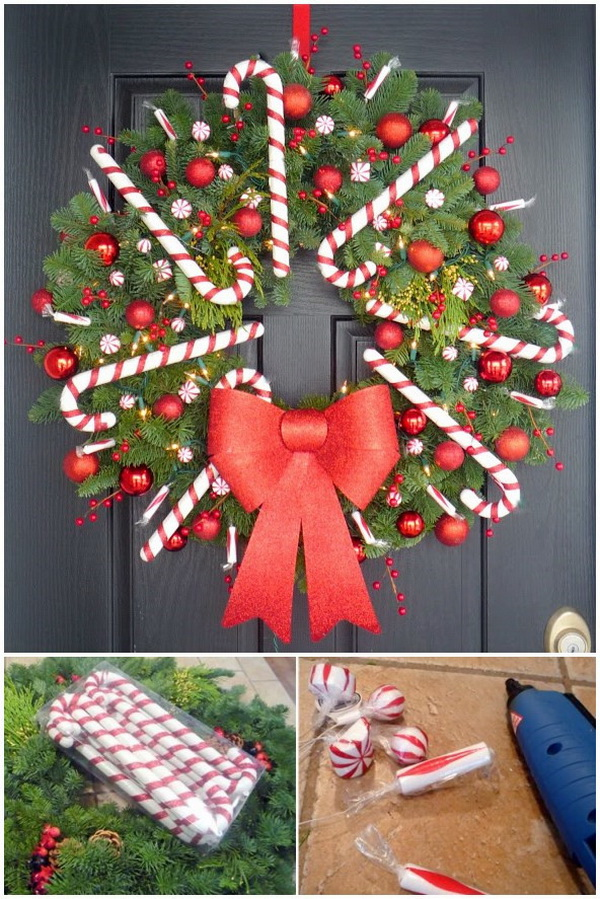 Peppermint Wreath For Christmas.