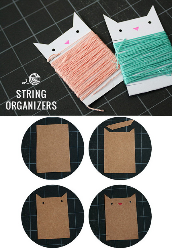 DIY Cardstock String Organizers. Make your own string organizer with cardstock! A cute and easy way to get your embroidery floss or thread collection straightened out and organized!