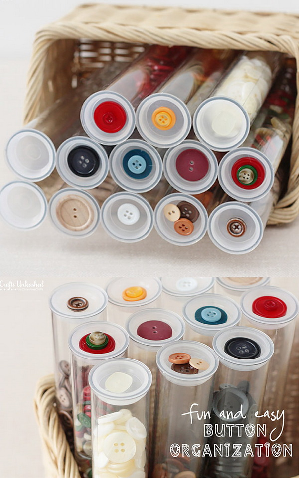 Plastic Tube for Craft Button Organization. A fun and easy way to store all of craft buttons with simple, clear plastic tubes. Use a sample button on top as label for easy access when you need next time.
