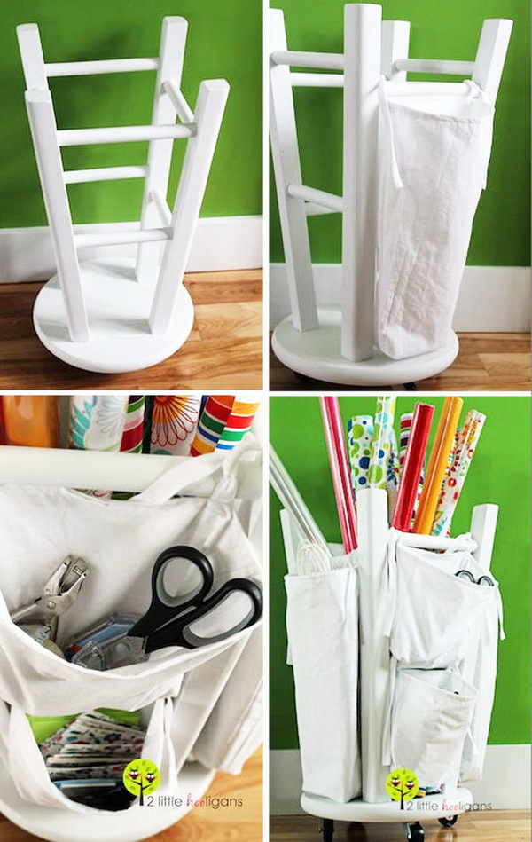 Convert Stool To A Craft Organizer. Upside down a stool and add some canvas bags onto the outside legs. Screw rolling coasters into the top of stool. A great craft room organizer turns out!