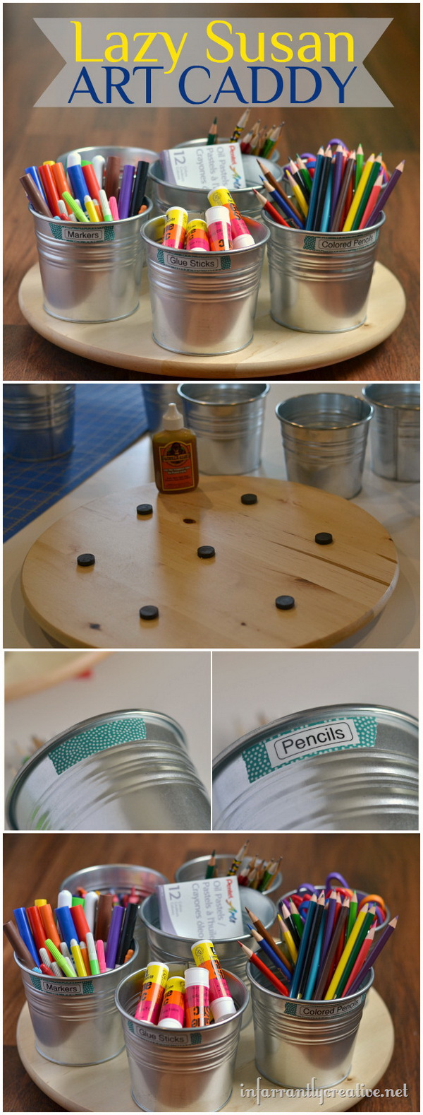 Spinning Lazy Susan Art Caddy. This spinning lazy susan art caddy is great for your craft table to store all of the craft supplies.