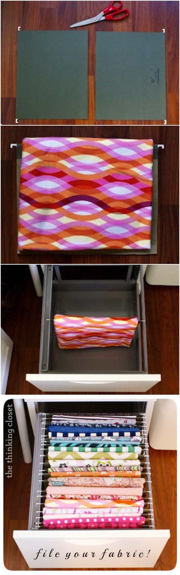 Filing Fabric Organizer. Use a file cabinet and hanging file folders to store and organize fabric!