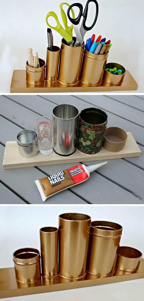 DIY Gold Pencil Holder. Make this awesome gold pencil or desk holder with crap stuff laying around your house!
