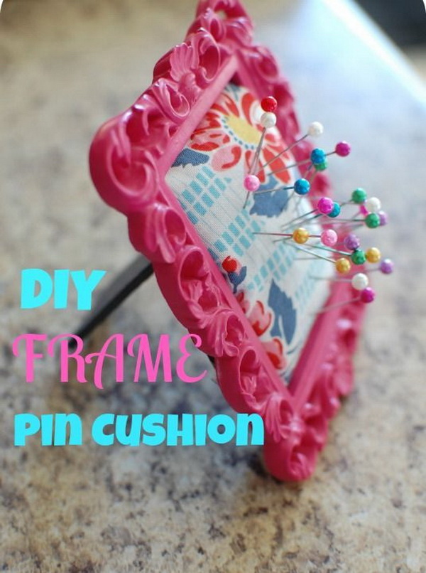 DIY Picture Frame Pin Cushion. Create an adorable and easy DIY picture frame pin cushion using supplies you already own. This great project will help keep your sewing pins or push pins organized while you sew!
