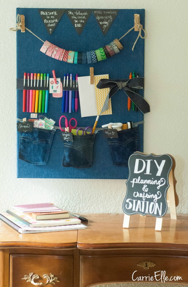 DIY Planning and Crafting Station. Perfect sewing project for storing all of your craft supplies with no efforts!