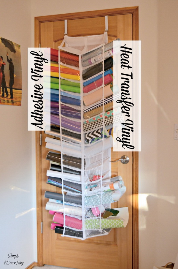 Organizing Silhouette Cameo Vinyl. Another creative way to store vinyl with shoes away hanging organizer on the back of the door!
