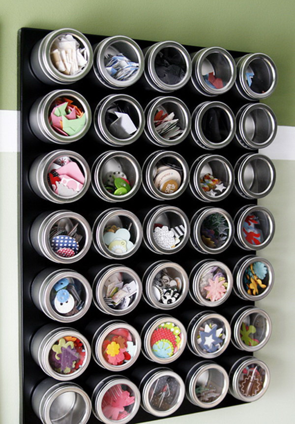 Magnetic Embellishment Board. You can easily store the overflowing collection of small embellishments, like buttons, beads, brads, eyelets, in these magnetic spice canisters.