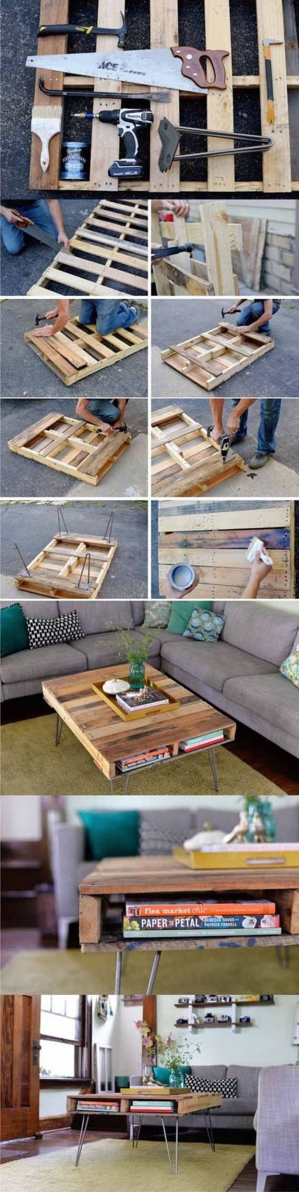 DIY Pallet Coffee Table. Pallets come in various sizes and qualities. Look for the best pallets and recycle them into this practical coffee table for your living space! It is elatively easy to make with instuctions.