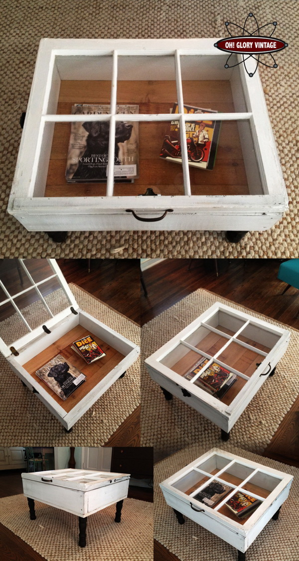 Reclaimed Window Coffee Table. A practical vintage looking DIY coffee table made out of old window!