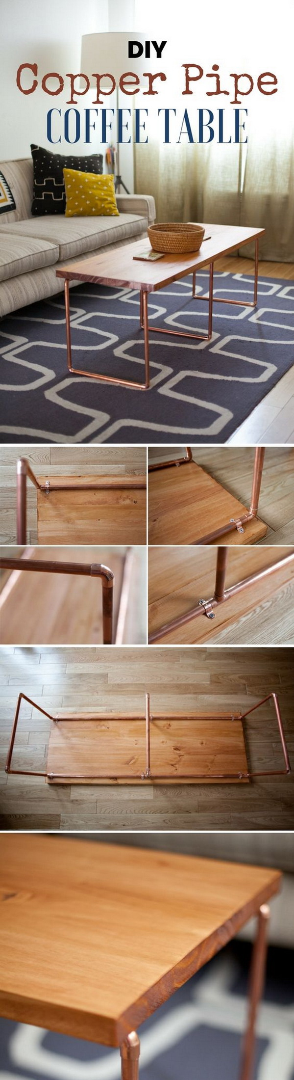 DIY Copper Pipe Coffee Table. Make this wonderful coffee table with some copper pipe and a wooden board to add a brilliant, bright and shiny accent to your industrial style home decor!