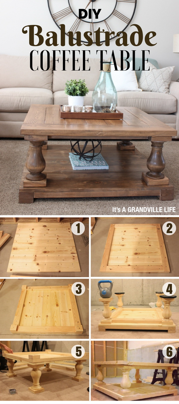 DIY Balustrade Coffee Table. This rustic yet industrial DIY balustrade coffee table is a great project for even beginners. Great addition to your living room!