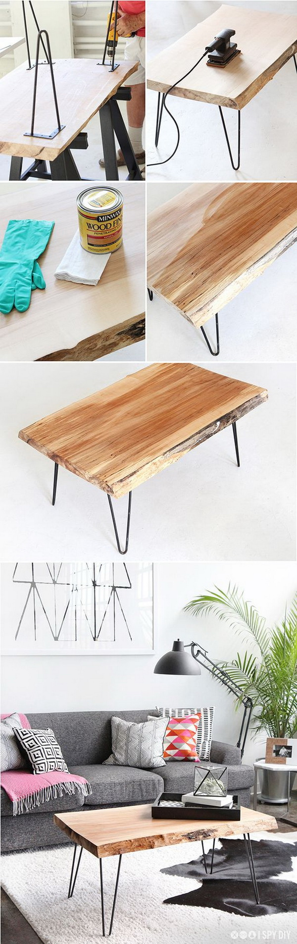 Wood Slab Coffee Table. All you need for this rustic yet high-end-looking coffee table is a piece of wood slab from the hardware store, hairpin legs and your favorite wood stain on a budget.