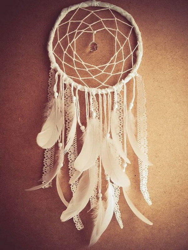 White lace, feather dream catcher for an elegant and delicate feminine charm and shabby chic look!